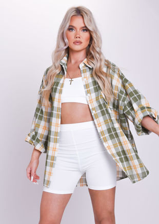 Oversized Button Down Checked  Shirt Top Green