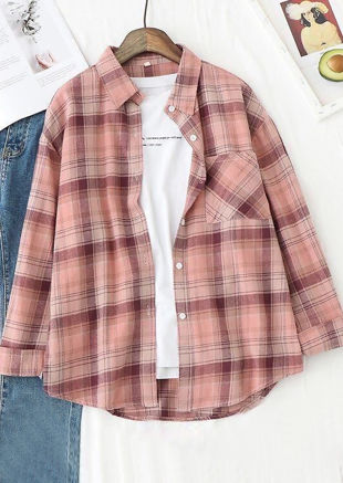 Oversized Checked Shirt Pink