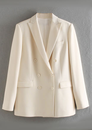 Oversized Collared Double Breasted Tailored Blazer Top Beige