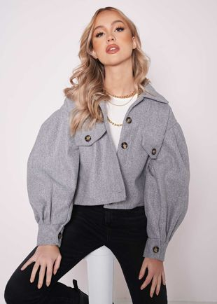 Oversized Collared Puff Sleeved Cropped Shacket Grey