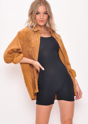 Oversized Corduroy Button Through Shirt Camel Brown