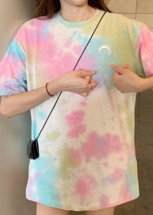Oversized Dip Dye Tshirt Top Pink