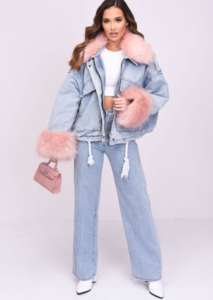 Oversized Faux Fur Collar Cuff Fleece Denim Jacket Pink