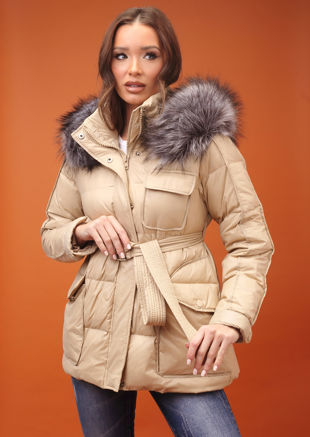 Down Faux Fur Hooded Belted Puffer Coat Beige
