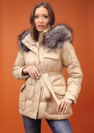 Down Faux Fur Hooded Belted Puffer Coat Beige