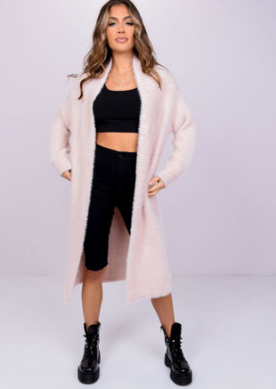 Oversized Fluffy Knit Longline Cardigan Coat Pink