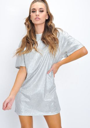 Oversized Glitter Shirt Dress Silver