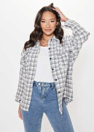 Oversized Houndstooth Button Down Long Sleeve Shacket Grey