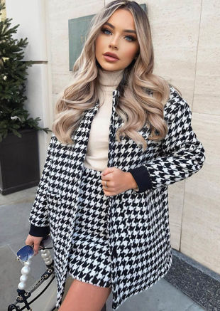 Oversized Houndstooth Longline Jacket Mini Skirt Co Ord Set Black