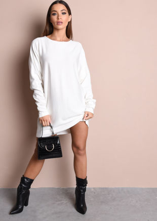 Oversized Knit Jumper Dress White