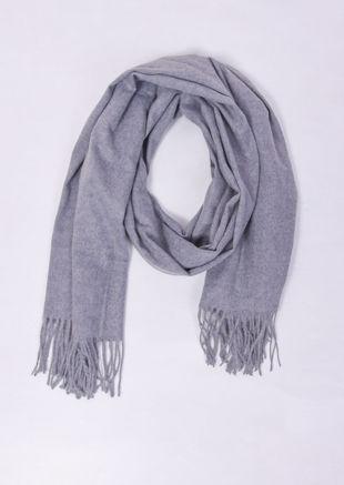 Oversized Long Cashmere Fringe Knit Scarf Grey