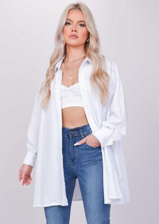 Oversized Long Sleeved Collared Shirt White