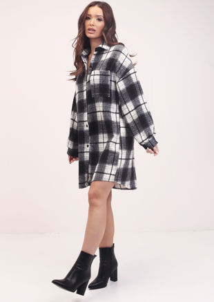 Oversized Longline Brushed Checked Utility Shacket Black