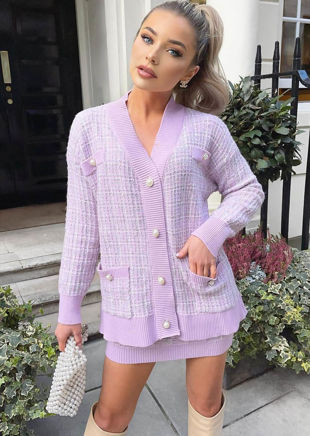 Oversized Longline Plaid Cardigan Top Mini Skirt Co Ord Set Purple