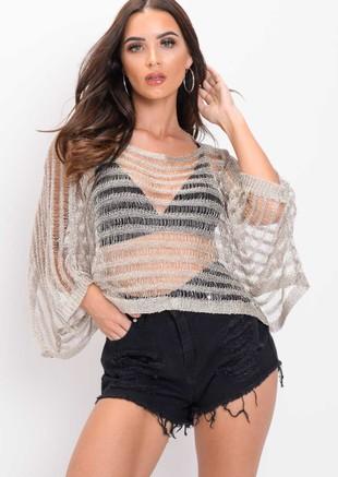 Oversized Metallic Knit Striped Top Silver
