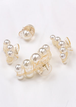 Oversized Pearl Transparent Hair Claw Set of 4 White
