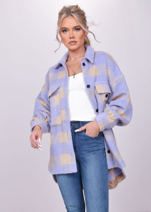 Oversized Checked Button Down Brushed Utility Shirt Jacket Coat Purple