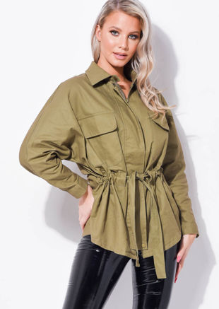 Oversized Pocket Front Utility Shirt Jacket Green