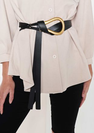 Chunky Pu Double Strapped Metal U Shaped Buckle Belt Black