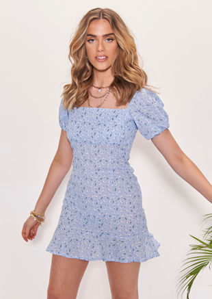 Square Neck Puff Sleeved Floral Print Frilled Hem Mini Dress Blue