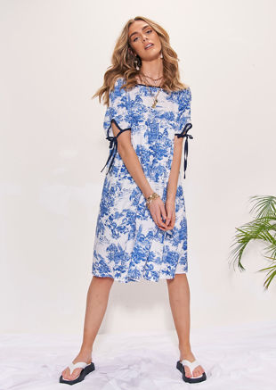 Oversized Puff Sleeved Illustrated Patterned Smock Midi Dress Blue