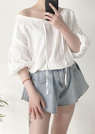 Oversized Balloon Sleeved Stripe Patterned Shirt Blouse Top White