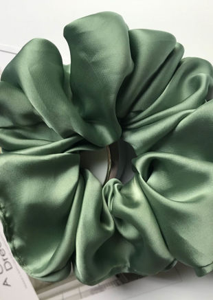 Oversized Satin Scrunchy Hair Tie Green