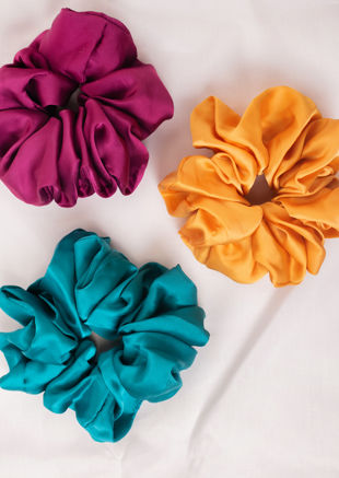Oversized Satin Scrunchie Hair Tie Gold