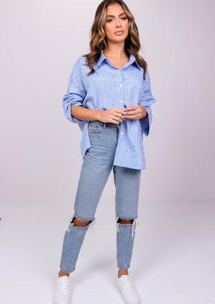 Oversized Stripe Button Down Shirt Blue