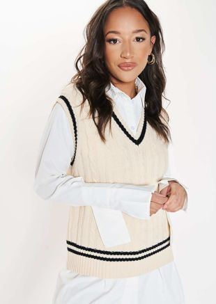 Oversized V Neck Sleeveless Cable Knit Sweater Vest Top Beige