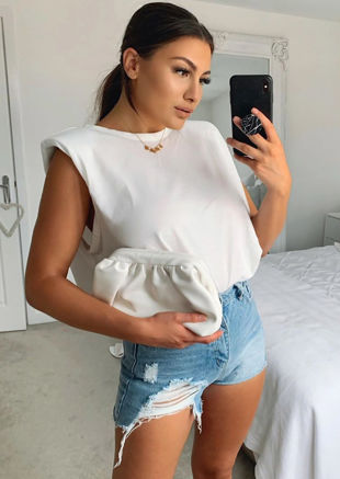 Oversized Tank T shirt Top White