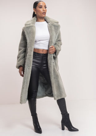Oversized Teddy Borg Collared Longline Coat Green