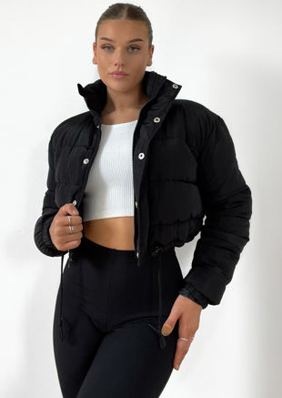 Padded Cropped Puffer Jacket Black