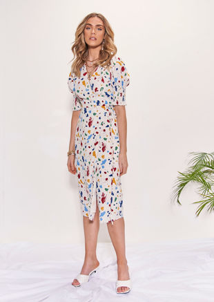 Paint Splat Patterned Wrap Over Puff Sleeve Midi Dress Multi