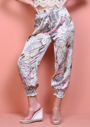 Palm Print Cuff Detail Harem Trousers Multi