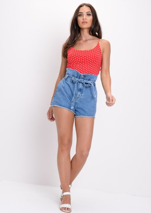 High Waisted Paperbag Belted Frayed Hem Denim Shorts Blue
