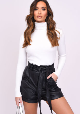 High Waisted Paperbag Pu Tie Waist Shorts Black