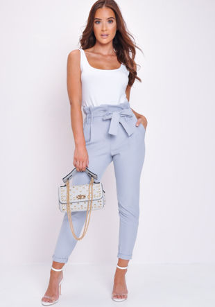 Paperbag Waist Belted Trousers Grey