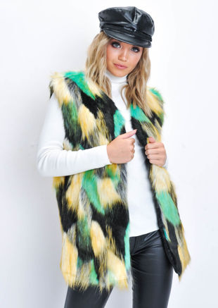Patchwork Soft Faux Fur Longline Gilet Multi