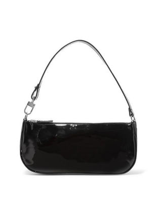 Patent Baguette Mini Shoulder Bag Black