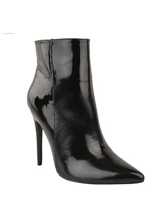 Patent Pointed Toe Side Zip Stiletto High Heels Ankle Boots Black