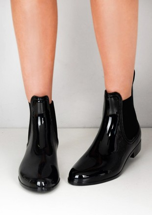 Patent Chelsea Ankle Rain Boots Black