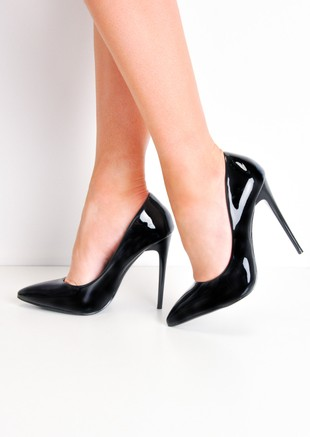 Patent Stiletto Pointed High Heels Black