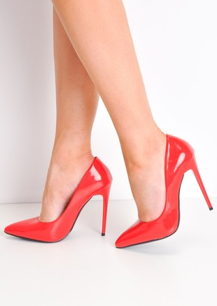 Patent Stiletto Pointed High Heels Red