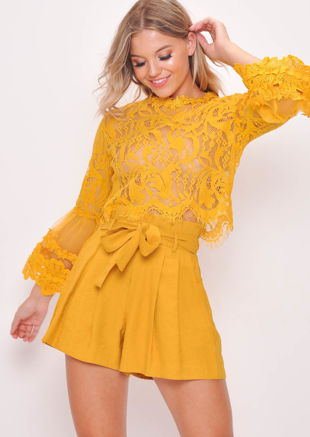 Patterned Lace Flute Sleeve Crop Top Yellow