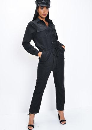 Peachskin Utility Boiler Jumpsuit Black