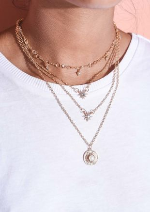Pearl Circle Diamante Star Layered Necklace Gold