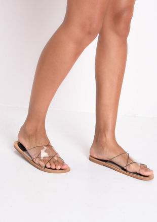 Perspex Cross Over Flat Sandals Black