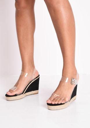 Perspex Platform Espadrille Wedge Sandals Suede Black