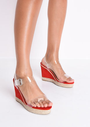 Perspex Platform Espadrille Wedge Suede Sandals Red